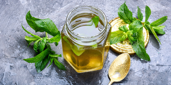Jam from fresh mint - Stock Photo - Images