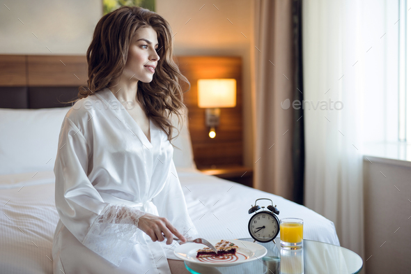 Beautiful girl in the hotel room - Stock Photo - Images