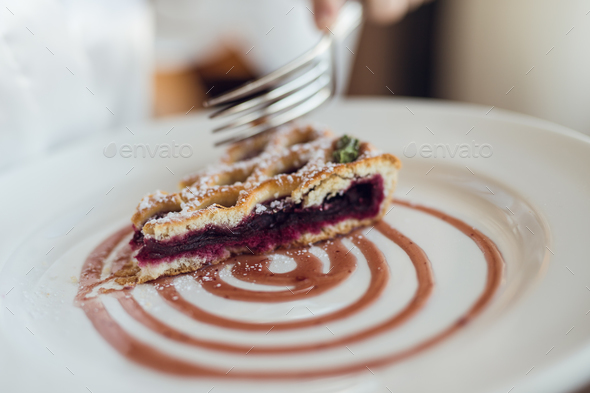 Beautiful delicious piece of cake on a plate - Stock Photo - Images