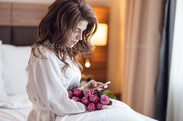Attractive woman with bouquet - Stock Photo - Images