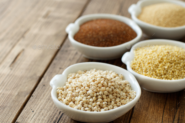 Gluten free grains  -  amaranth,  sorghum grain, teff and millet - Stock Photo - Images