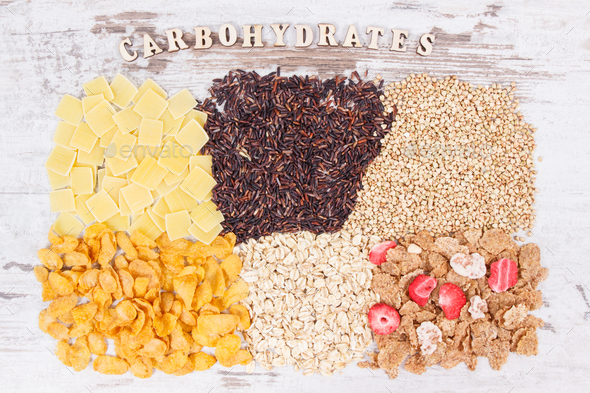 Natural food containing carbohydrates, minerals and dietary fiber, healthy nutrition concept - Stock Photo - Images