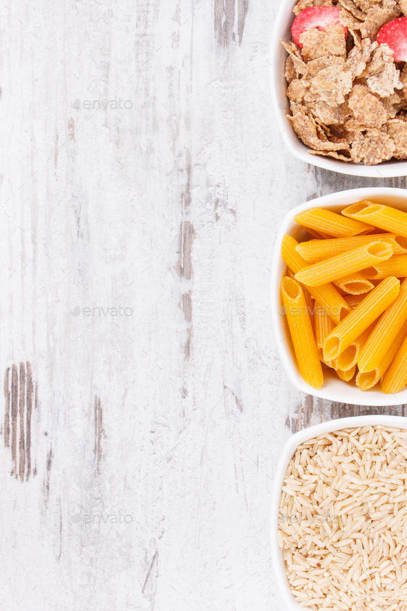 Products and ingredients containing carbohydrates and dietary fiber - Stock Photo - Images