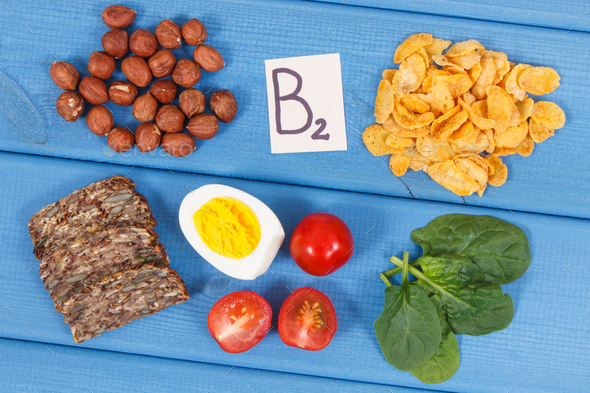 Ingredients containing vitamin B2 and dietary fiber, healthy nutrition concept - Stock Photo - Images
