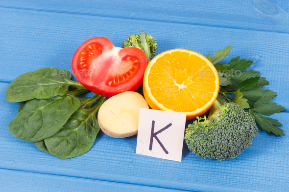 Fruits and vegetables containing vitamin K, minerals and dietary fiber, healthy nutrition - Stock Photo - Images