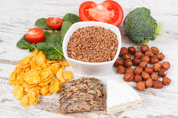 Nutritious ingredients containing vitamin B2, natural minerals and fiber, healthy nutrition - Stock Photo - Images