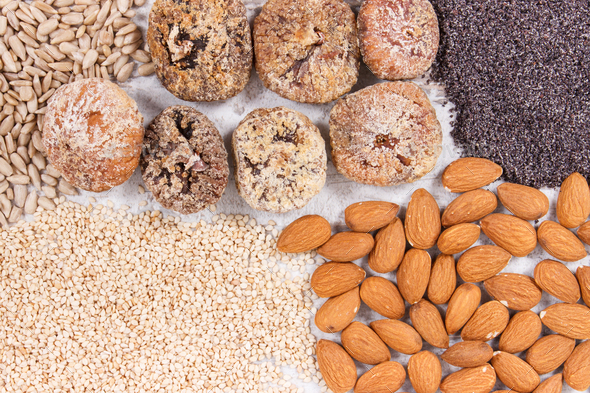Natural food containing calcium, minerals and dietary fiber, healthy nutrition concept - Stock Photo - Images