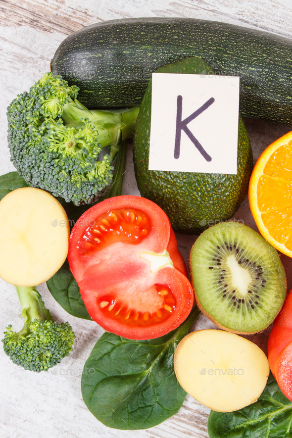 Fruits and vegetables containing vitamin K, potassium, natural minerals and dietary fiber - Stock Photo - Images