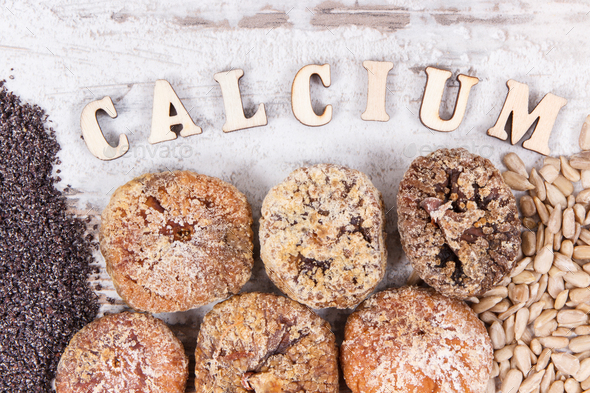Inscription calcium and natural ingredients as source vitamins, minerals and fiber - Stock Photo - Images