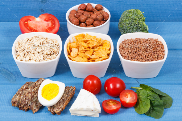 Healthy ingredients as source minerals, vitamin B2 and dietary fiber, nutritious eating concept - Stock Photo - Images