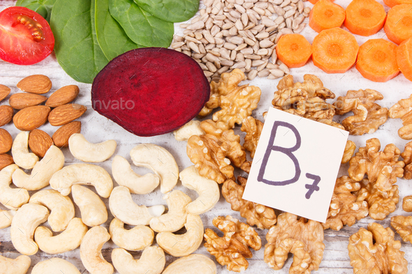 Nutritious different ingredients containing vitamin B7, natural minerals and fiber - Stock Photo - Images