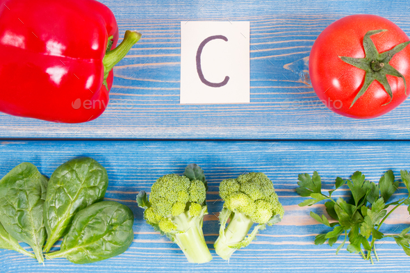 Vegetables containing vitamin C and natural minerals, concept of strengthening immunity - Stock Photo - Images