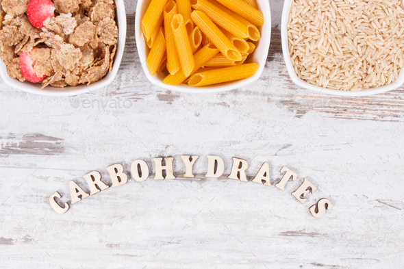 Products and ingredients containing carbohydrates and dietary fiber, healthy nutrition - Stock Photo - Images