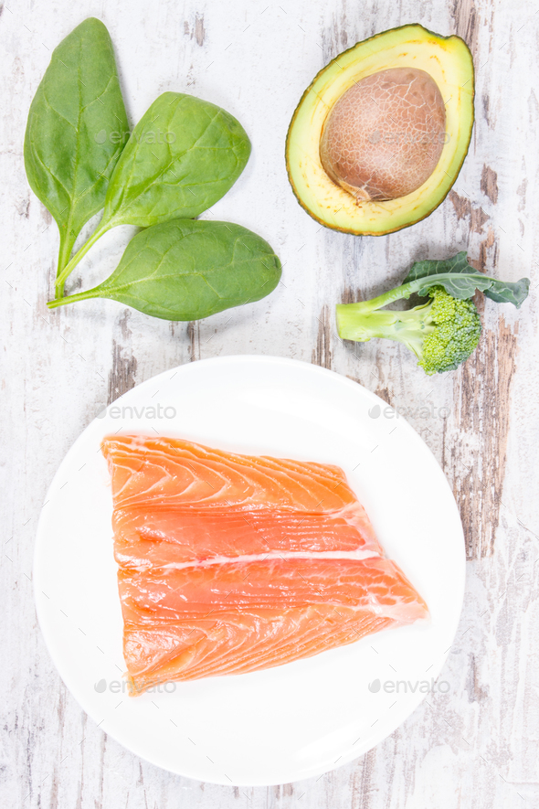 Natural sources of omega 3 acids, unsaturated fats and dietary fiber, healthy nutrition concept - Stock Photo - Images