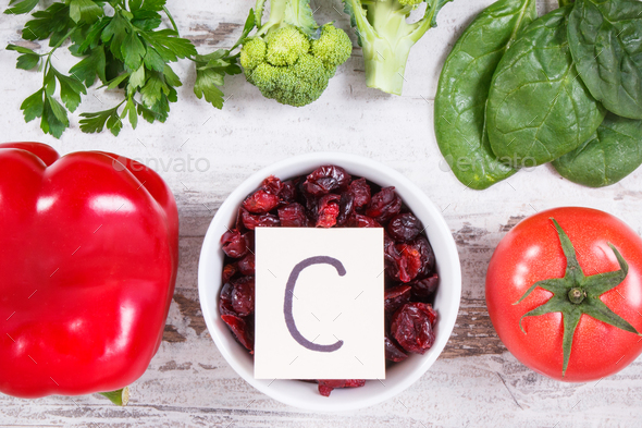 Fresh ripe fruits and vegetables as sources vitamin C, fiber and minerals, strengthening immunity - Stock Photo - Images