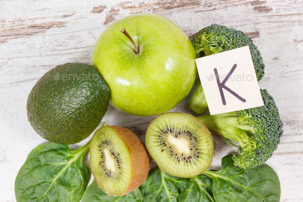 Fruits and vegetables containing vitamin K, minerals and dietary fiber, healthy nutrition concept - Stock Photo - Images