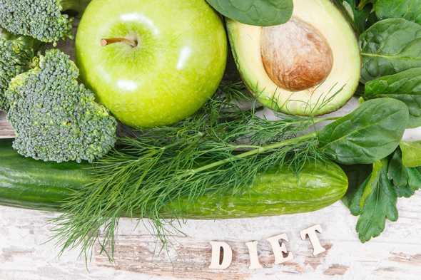 Inscription diet with fruits and vegetables containing natural minerals, vitamins and fiber - Stock Photo - Images