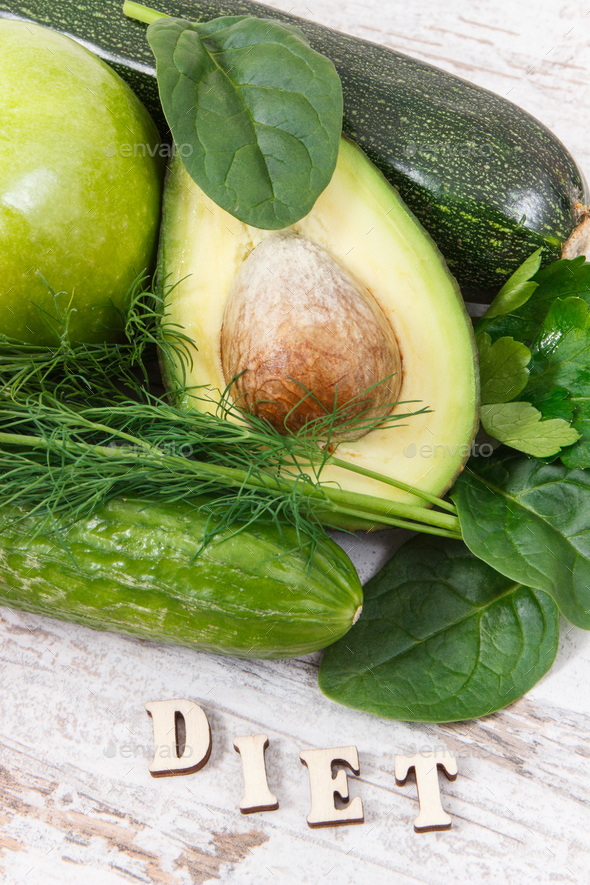 Inscription diet with green ingredients as source vitamins and minerals - Stock Photo - Images