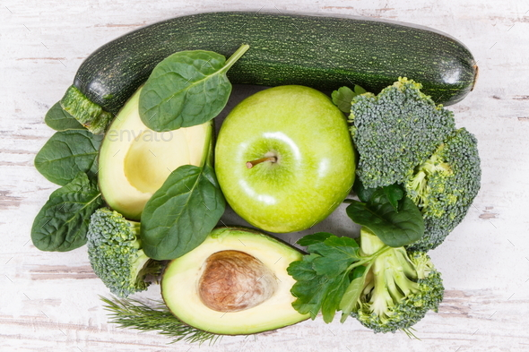 Green fruits and vegetables containing natural minerals, vitamins and fiber - Stock Photo - Images