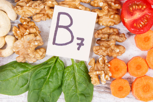 Nutritious products containing vitamin B7 and dietary fiber, healthy nutrition - Stock Photo - Images