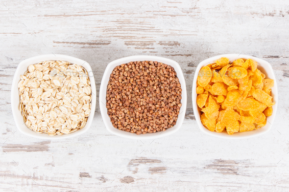 Products and ingredients containing vitamin B2 and dietary fiber, healthy nutrition concept - Stock Photo - Images