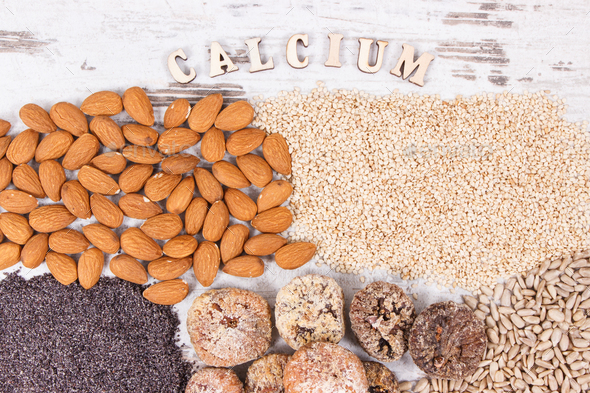 Products and ingredients containing calcium and dietary fiber, healthy nutrition - Stock Photo - Images