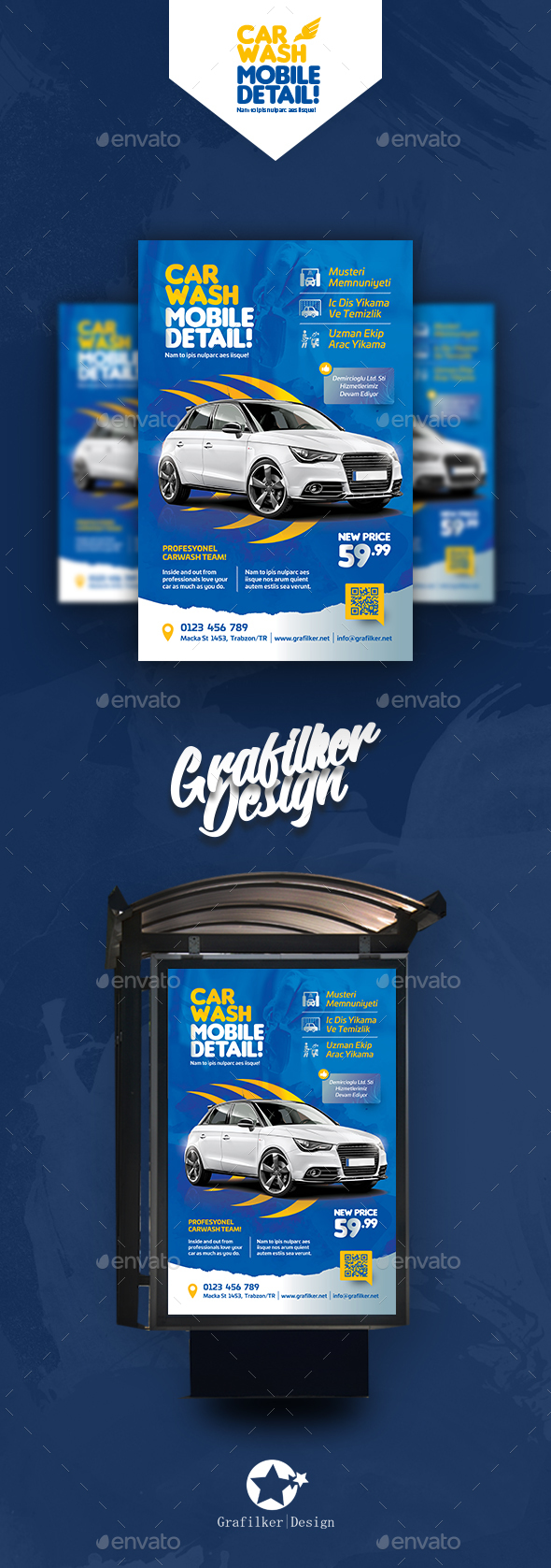 Car Wash Poster Templates - Cards & Invites Print Templates