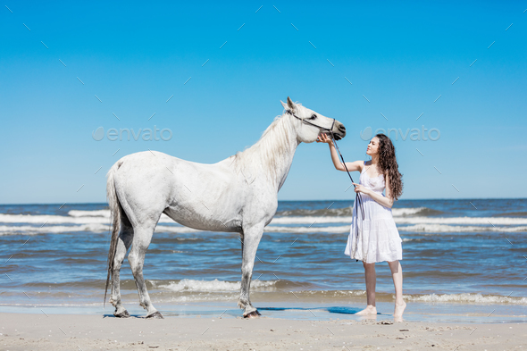 Young girl petting white horse on the beach. - Stock Photo - Images