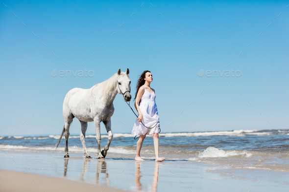 Girl and a horse walking on the beach. - Stock Photo - Images