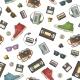 Seamless Pattern of Retro Technology Objects