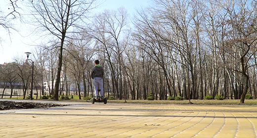 People in spring park