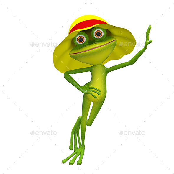 3D Illustration of the Frog in Yellow Panama - Characters 3D Renders