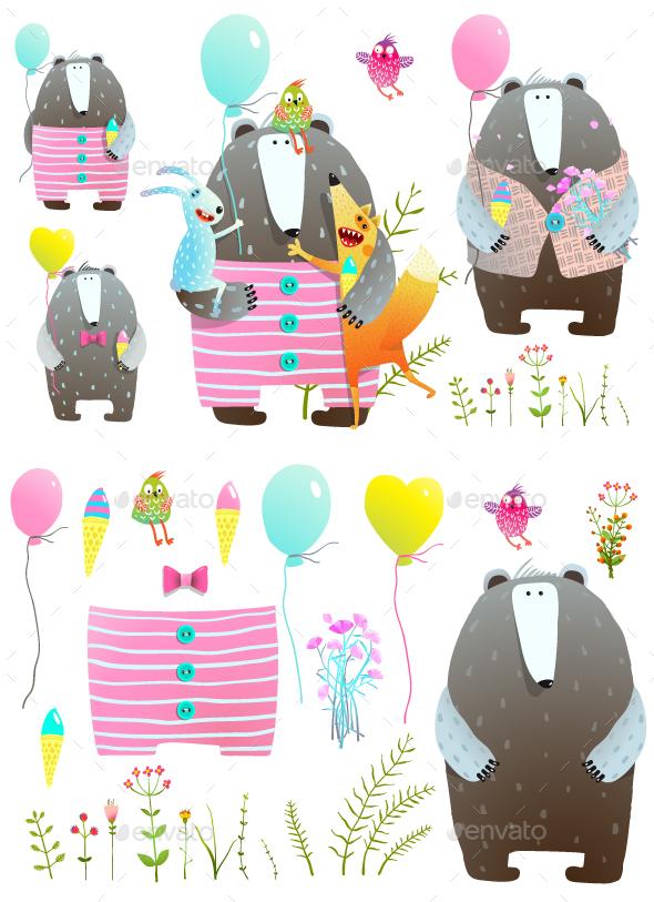 Bear Fox Rabbit Greeting Card Set - Animals Characters