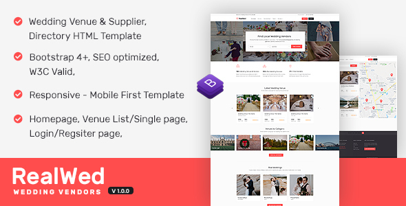 Realwed – Wedding Supplier Directory & Listing HTML Template