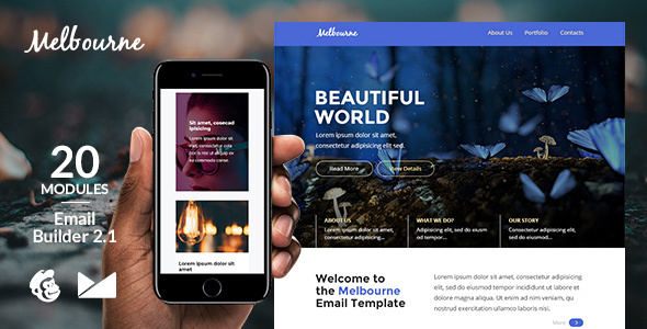 Melbourne Responsive Email Template + Online Emailbuilder 2.1 - Newsletters Email Templates