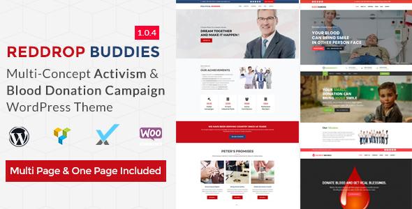 Image of Reddrop Buddies – Multi-Concept Activism & Blood Donation Campaign WordPress Theme