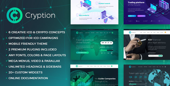 Cryption - ICO Landing, ICO Consulting, Cryptocurrency & Blockchain WordPress Theme - Technology WordPress