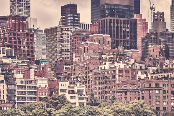 New York City, sepia toned picture, USA - Stock Photo - Images