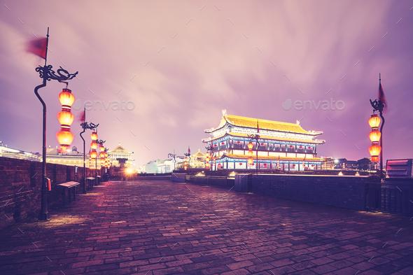 Xian city wall at night, China. - Stock Photo - Images