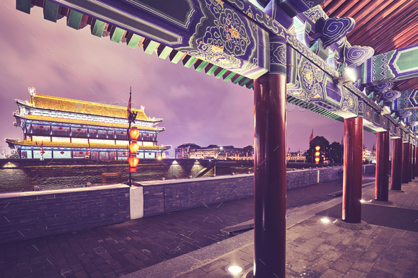 Xian city wall and ancient tower at night, China. - Stock Photo - Images