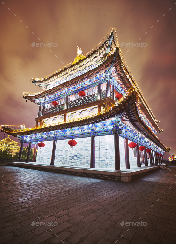 Xian city wall ancient building at night, China. - Stock Photo - Images
