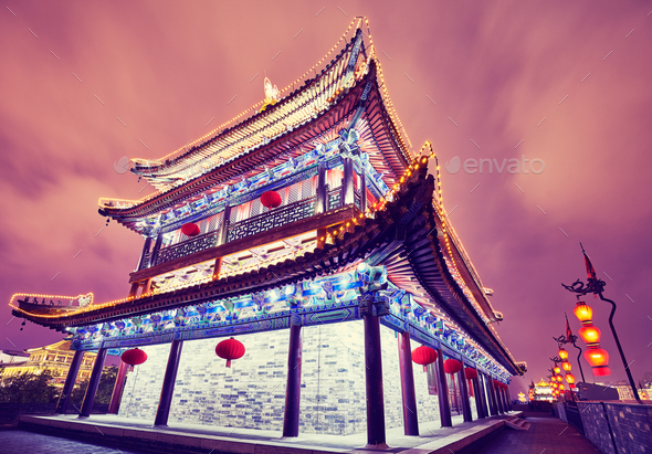 Xian city wall ancient building at night, China. - Stock Photo - Images