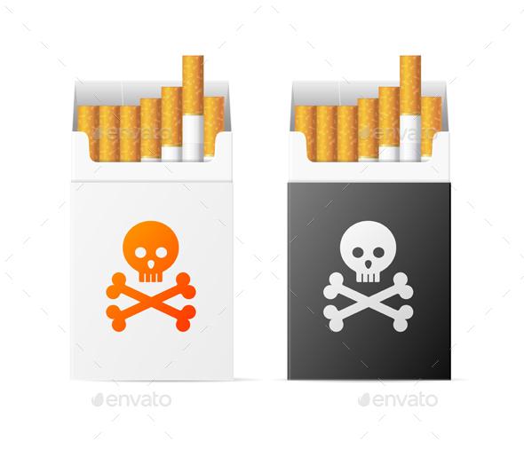 Cigarette Warning Pack with Skull Set - Health/Medicine Conceptual