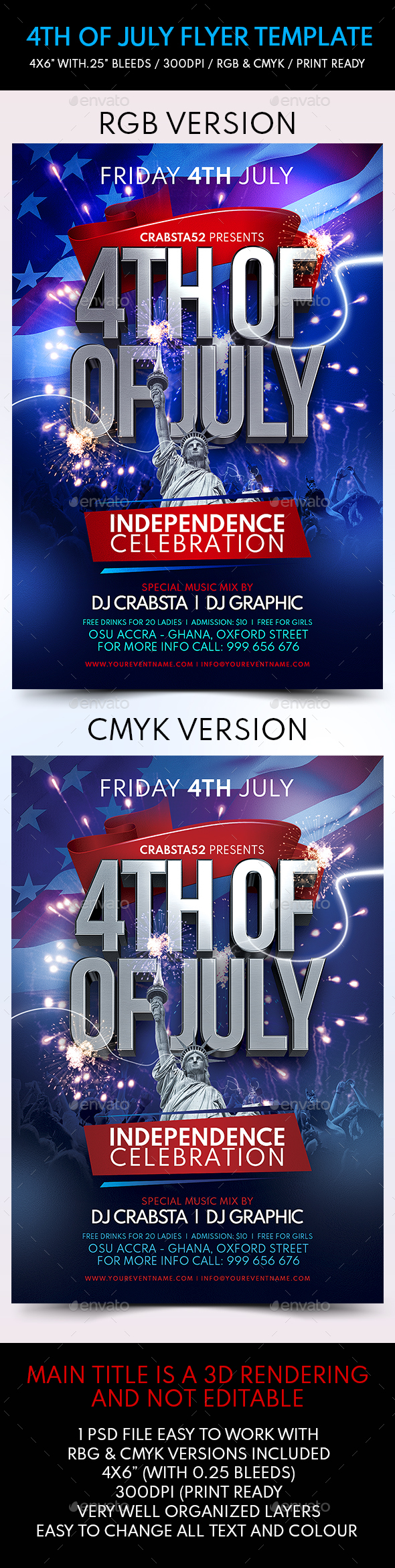 4th of July Flyer Template - Flyers Print Templates