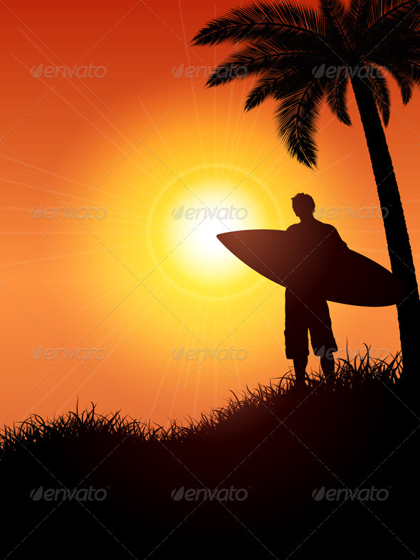 Surfer Silhouette - People Characters