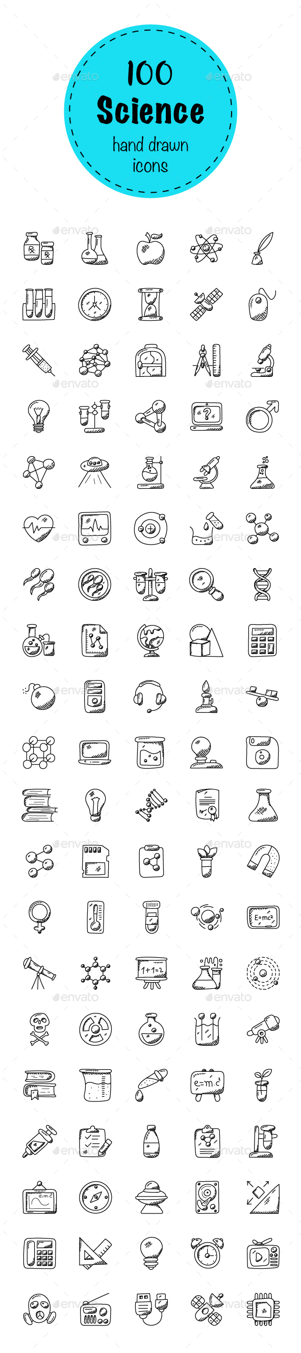 100 Science and Fiction Doodle Icons - Icons