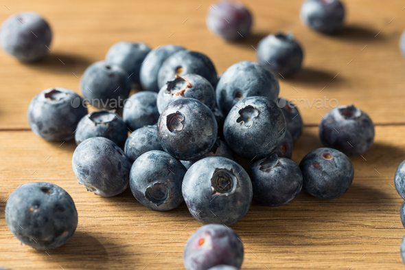 Raw Blue Organic Blueberries - Stock Photo - Images