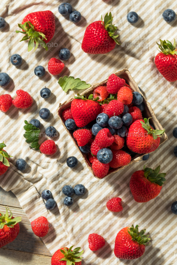 Raw Red Organic Mixed Berries - Stock Photo - Images