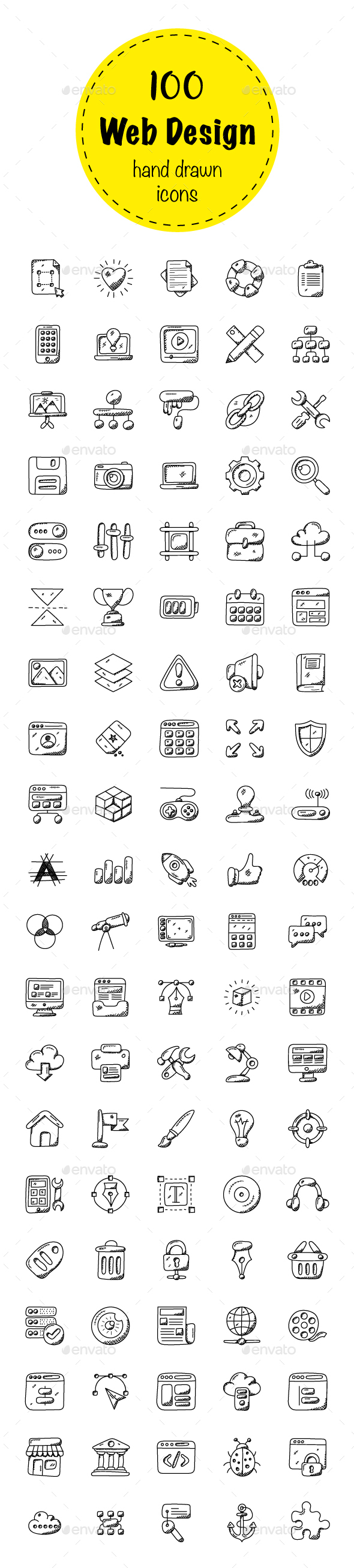 100 Web Design Doodle Icons - Icons
