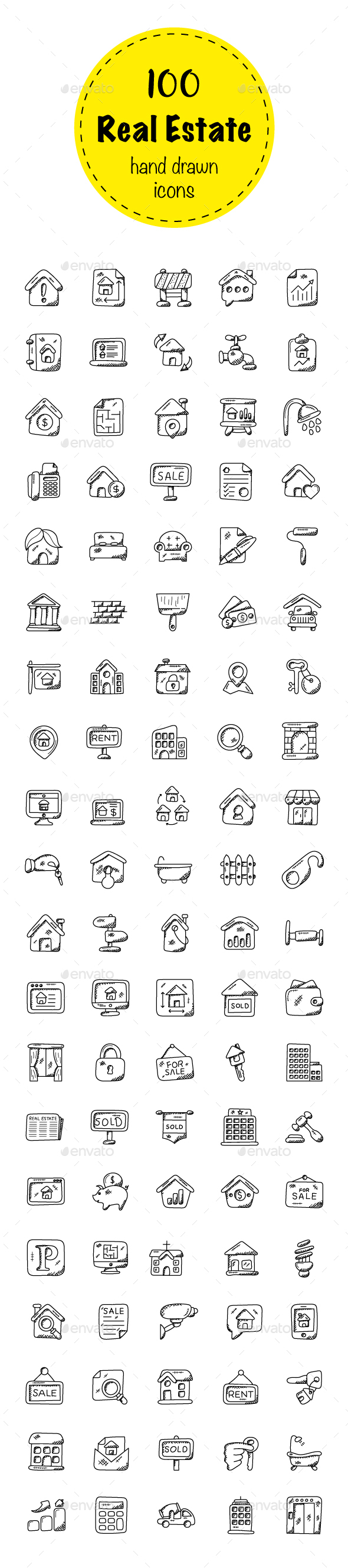 100 Real Estate Doodle Icons - Icons
